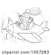 Royalty Free Vector Clip Art Illustration Of An Outlined Easter Bunny Flying An Airplane