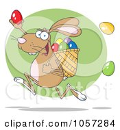 Royalty Free Vector Clip Art Illustration Of A Brown Bunny Participating In An Easter Egg Hunt 2