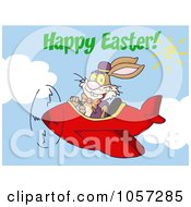 Royalty Free Vector Clip Art Illustration Of Happy Easter Greeting Over An Easter Bunny Flying A Red Airplane