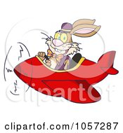 Royalty Free Vector Clip Art Illustration Of An Easter Bunny Flying A Red Airplane