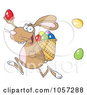 Royalty Free Vector Clip Art Illustration Of A Brown Bunny Participating In An Easter Egg Hunt 1