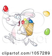 Royalty Free Vector Clip Art Illustration Of A White Bunny Participating In An Easter Egg Hunt 1