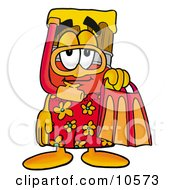 Clipart Picture Of A Paint Brush Mascot Cartoon Character In Orange And Red Snorkel Gear by Toons4Biz