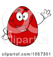 Red Easter Egg Character Waving by Hit Toon