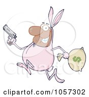 Royalty Free Vector Clip Art Illustration Of A Black Robber Running In A Bunny Costume