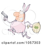 Royalty Free Vector Clip Art Illustration Of A Robber Running In A Bunny Costume