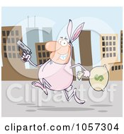Royalty Free Vector Clip Art Illustration Of A Robber Running Through A City In A Bunny Costume