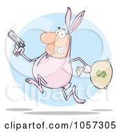 Royalty Free Vector Clip Art Illustration Of A Robber Running In A Bunny Costume Over A Blue Circle