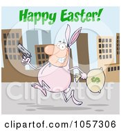 Royalty Free Vector Clip Art Illustration Of A Happy Easter Greeting Over A Robber Running Through A City In A Bunny Costume