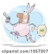Royalty Free Vector Clip Art Illustration Of A Black Robber Running In A Bunny Costume Over A Blue Circle by Hit Toon