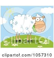 Royalty Free Vector Clip Art Illustration Of A Barnyard Sheep Eating Grass On A Hill