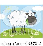 Royalty Free Vector Clip Art Illustration Of A Black Barnyard Sheep Eating Grass On A Hill