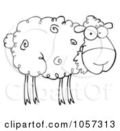 Royalty Free Vector Clip Art Illustration Of An Outlined Barnyard Sheep Eating Grass