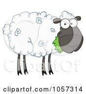 Royalty Free Vector Clip Art Illustration Of A Black Barnyard Sheep Eating Grass