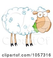 Royalty-Free Vector Clip Art Illustration of a Barnyard Sheep Eating Grass by Hit Toon #COLLC1057316-0037