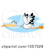 Royalty Free Vector Clip Art Illustration Of A Stork Flying In The Sky by Hit Toon