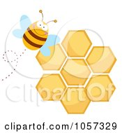 Royalty-Free Vector Clip Art Illustration of a Happy Bee By A Honeycomb by Hit Toon