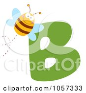 Royalty Free Vector Clip Art Illustration Of A Happy Bee By A Letter B