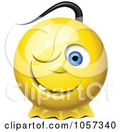 3d Winking Yellow Smiley Face With A Pony Tail
