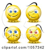 Digital Collage Of 3d Yellow Smiley Faces With Pony Tails
