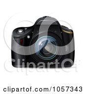 Royalty Free Vector Clip Art Illustration Of A 3d Black Digital Reflex Camera