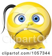 3d Sad Yellow Smiley Face With A Pony Tail