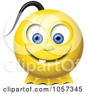 3d Yellow Smiley Face With A Pony Tail