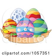 Royalty Free Vector Clip Art Illustration Of Easter Eggs With A Blank Banner