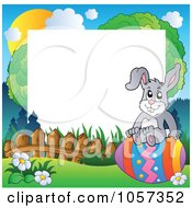 Royalty Free Vector Clip Art Illustration Of Frame Of An Easter Bunny Sitting On An Egg