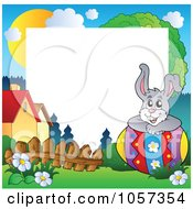Royalty Free Vector Clip Art Illustration Of A Frame Of An Easter Bunny Resting On An Egg