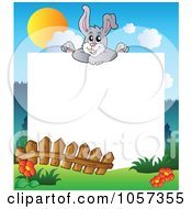 Royalty Free Vector Clip Art Illustration Of A Frame Of An Easter Bunny Over A Meadow