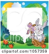 Royalty Free Vector Clip Art Illustration Of Frame Of An Easter Bunny Sitting In A Basket