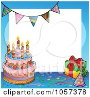 Royalty Free Vector Clip Art Illustration Of A Frame Of A Birthday Cake With A Party Hat And Gift