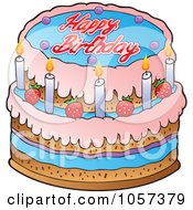 Royalty Free Vector Clip Art Illustration Of A Strawberry Birthday Cake