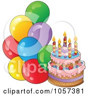 Royalty Free Vector Clip Art Illustration Of A Birthday Cake With Party Balloons