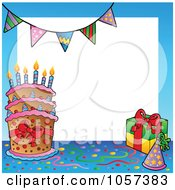 Royalty Free Vector Clip Art Illustration Of A Birthday Frame Of A Cake With A Party Hat And Gift