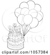 Royalty Free Vector Clip Art Illustration Of An Outlined Birthday Cake With Party Balloons