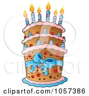 Royalty Free Vector Clip Art Illustration Of A Tiered Birthday Cake With Candles