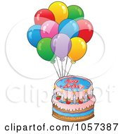 Royalty Free Vector Clip Art Illustration Of A Birthday Cake And Party Balloons