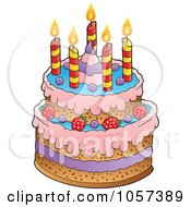 Royalty-Free Vector Clip Art Illustration of a Birthday Cake With Candles by visekart