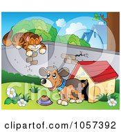 Royalty Free Vector Clip Art Illustration Of A Cat Sleeping On A Wall Over A Dog