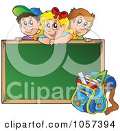 Royalty Free Vector Clip Art Illustration Of A School Children Looking Over A Blank Chalk Board