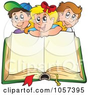Royalty Free Vector Clip Art Illustration Of A Happy School Children Over An Open Book