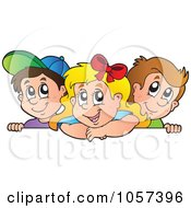 Royalty Free Vector Clip Art Illustration Of Children Over An Edge Of A Blank Sign
