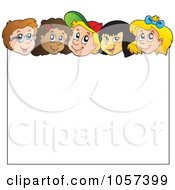 Royalty Free Vector Clip Art Illustration Of Diverse Children Over A Blank Sign