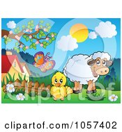 Royalty Free Vector Clip Art Illustration Of A Chick And Sheep In A Spring Landscape