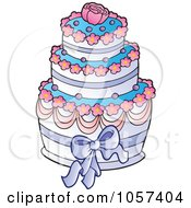 Royalty Free Vector Clip Art Illustration Of A Pink Blue And White Wedding Cake With A Rose by visekart