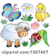 Royalty Free Vector Clip Art Illustration Of A Digital Collage Of A Butterfly Bird Ladybug And Sheep