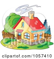Royalty Free Vector Clip Art Illustration Of A House With Smoke Rising From The Chimney