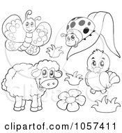 Royalty Free Vector Clip Art Illustration Of A Coloring Page Outline Of A Butterfly Ladybug Bird And Sheep